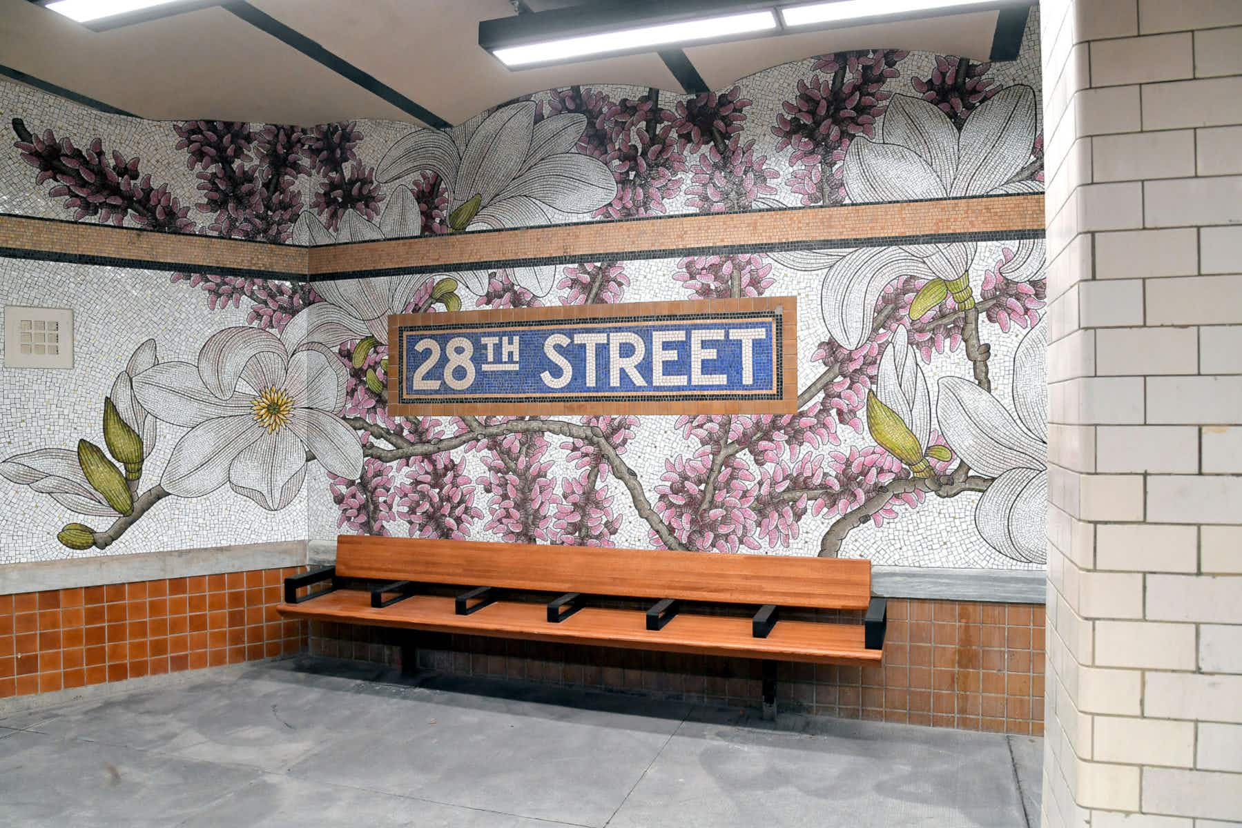 Mosaic flowers are blooming at this New York City subway station