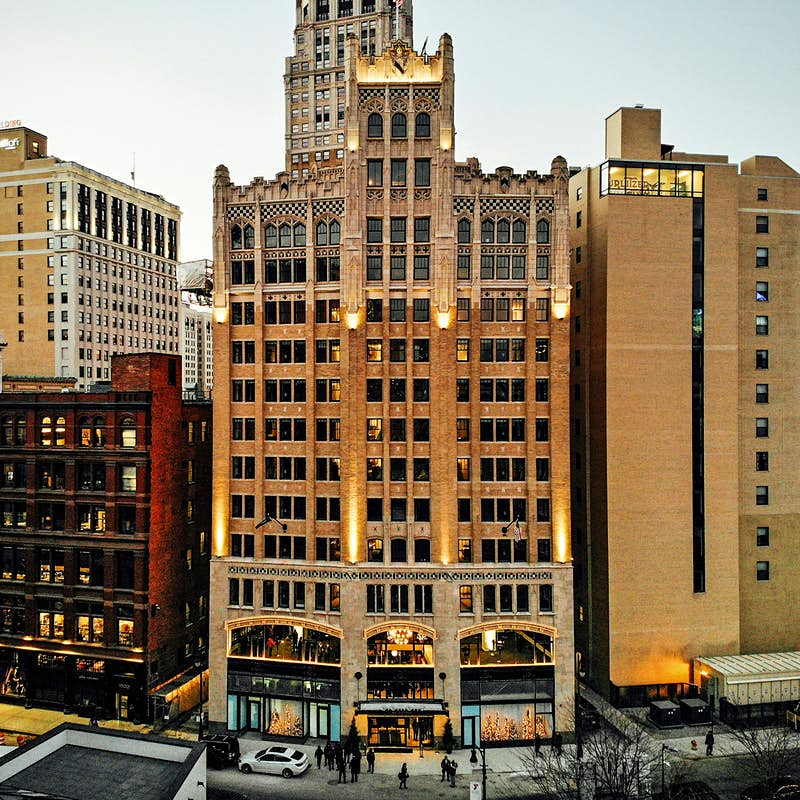 The exterior of The Metropolitan Building in Detroit.