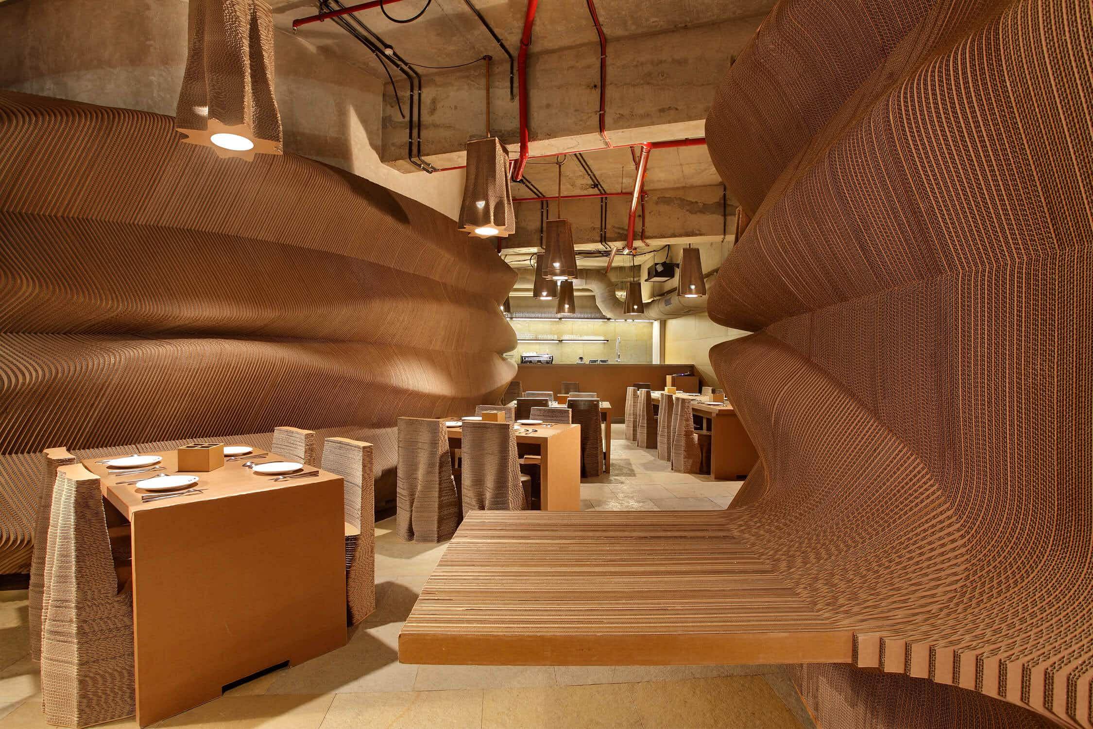Inside the eco-designed Mumbai cafe made of cardboard