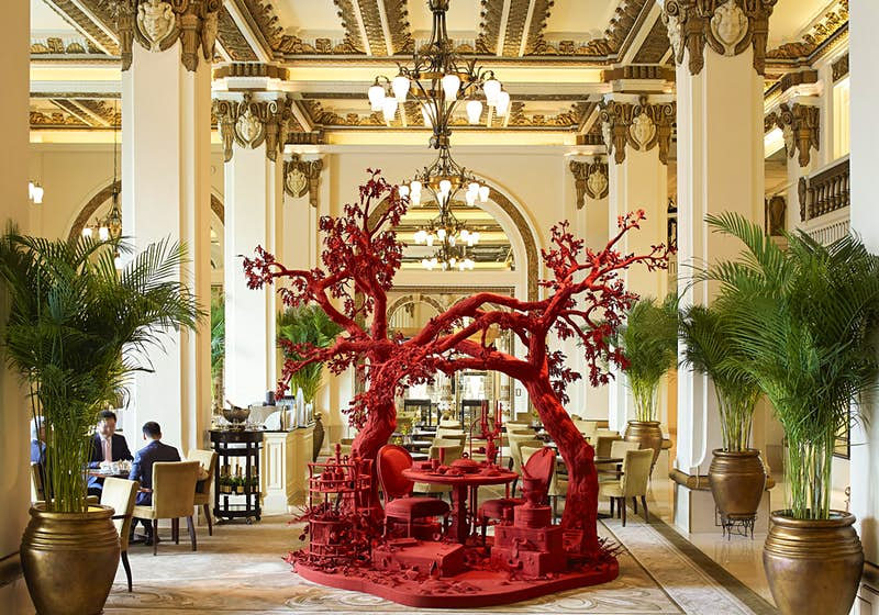 Art Installation Alizarin Part Of Art In Resonance Located In The Peninsula Hong Kong's Lobby