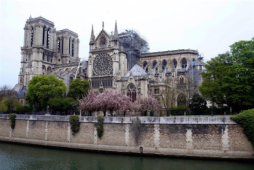 Catedral de Notre Dame el día después del incendio masivo que devastó su techo