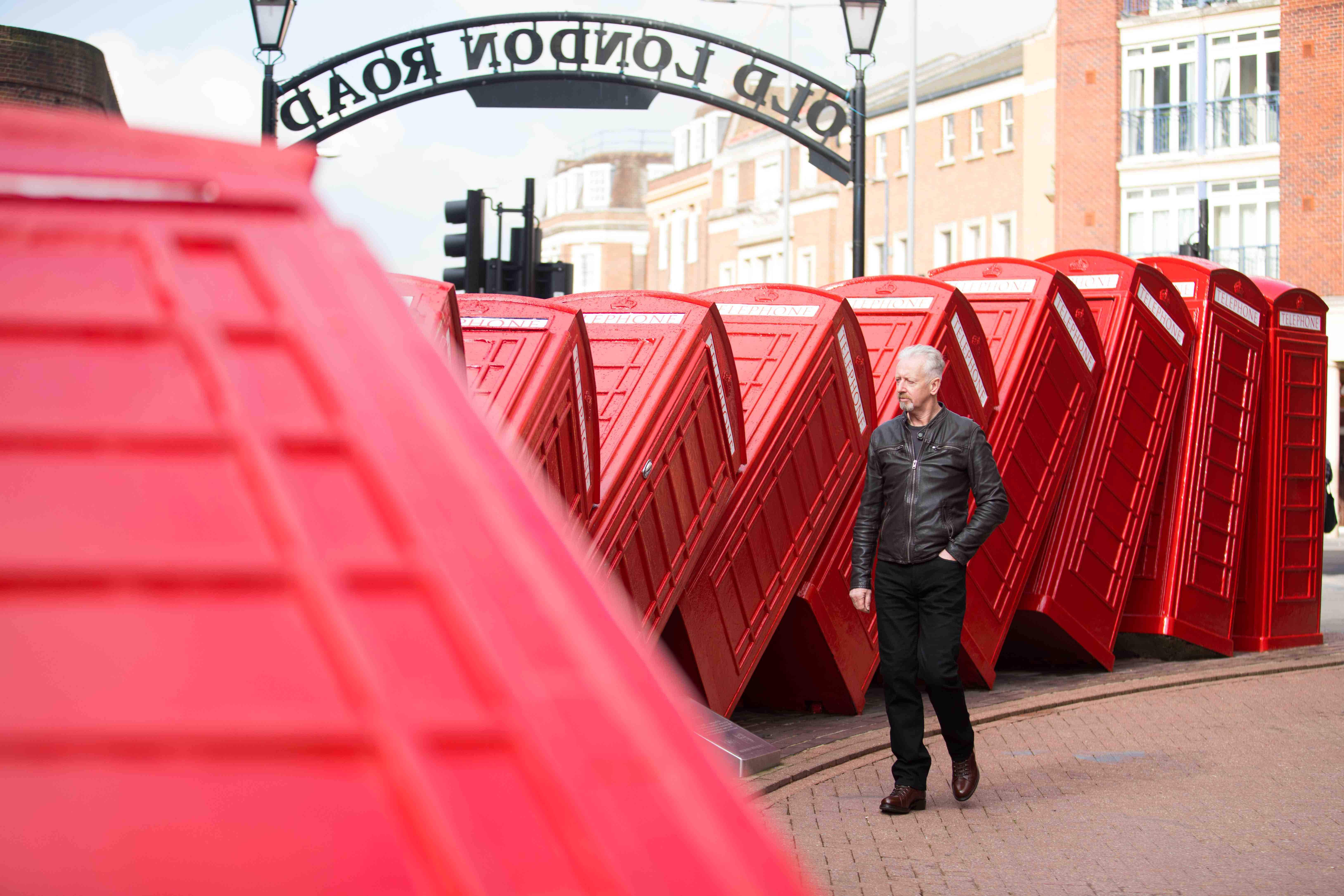 London's iconic tumbling telephone boxes sculpture has been refurbished