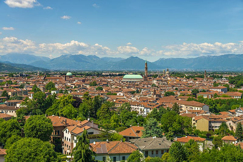 An aerial view of the city of Vicenza