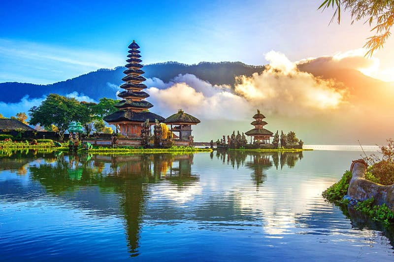 A temple on the water in Bali in Indonesia