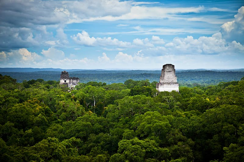 The Mayan ruins found in Tikal, Guatemala, can be seen in the background as the Millennium Falcon makes its arrival on the planet Yavin in A New Hope, where the first great battle of the saga takes place and Luke Skywalker destroys the first Death Star. Photo by TheZAStudio/Shutterstock
