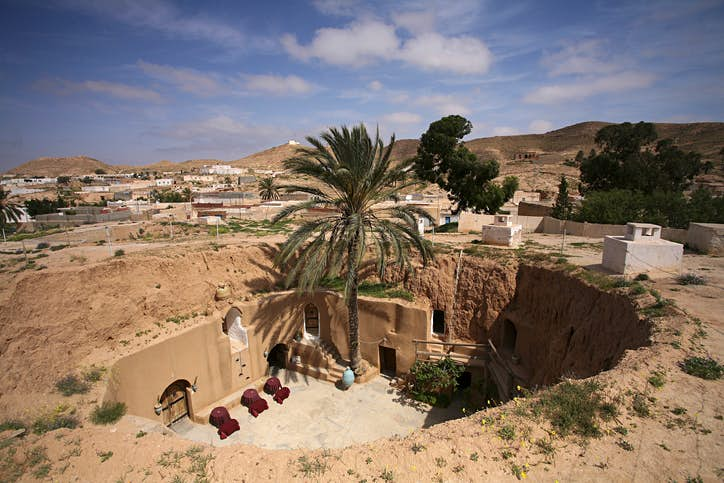 Tunisia has also lent its scenery for another Tatooine set— the Hotel Sidi Driss in Matmata served as the moisture farm of Owen and Beru Lars, Luke's uncle and aunt with whom he lived before leaving on his quest to save Princess Leia in A New Hope. Photo by Westend61/Getty Images