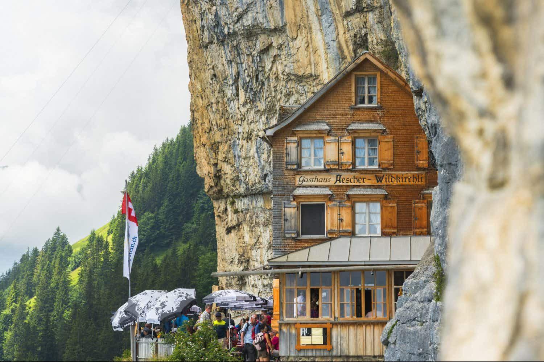 Switzerland's iconic cliffhanging restaurant has reopened
