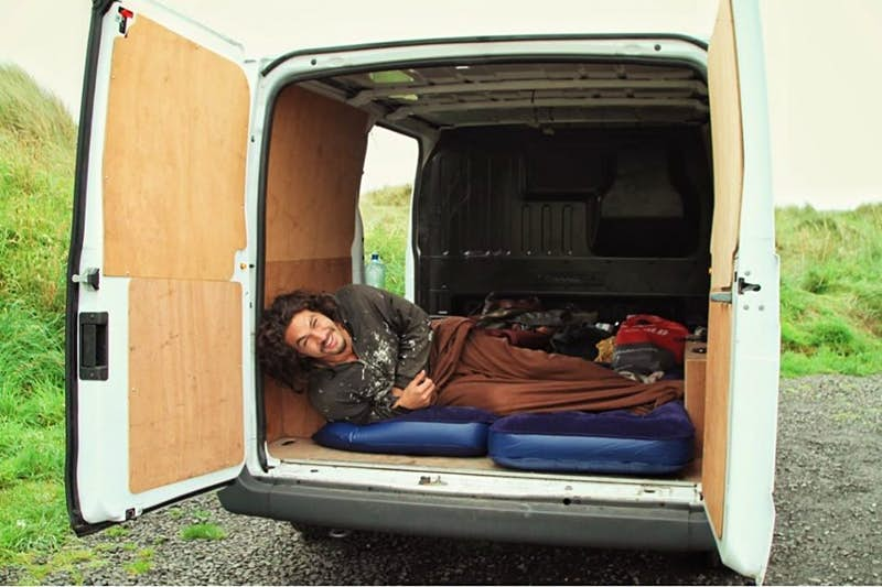 Actor Jason Momoa lying in the back of a van in Donegal.