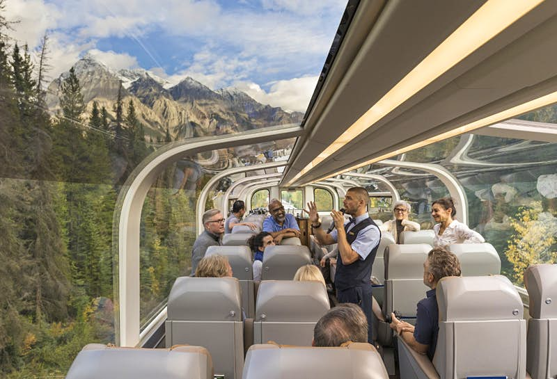 The new GoldLeaf Service rail cars from Rocky Mountaineer.