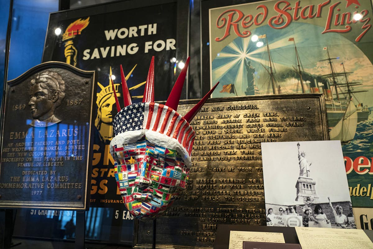 Statue of Liberty memorabilia inside the newly opened museum.