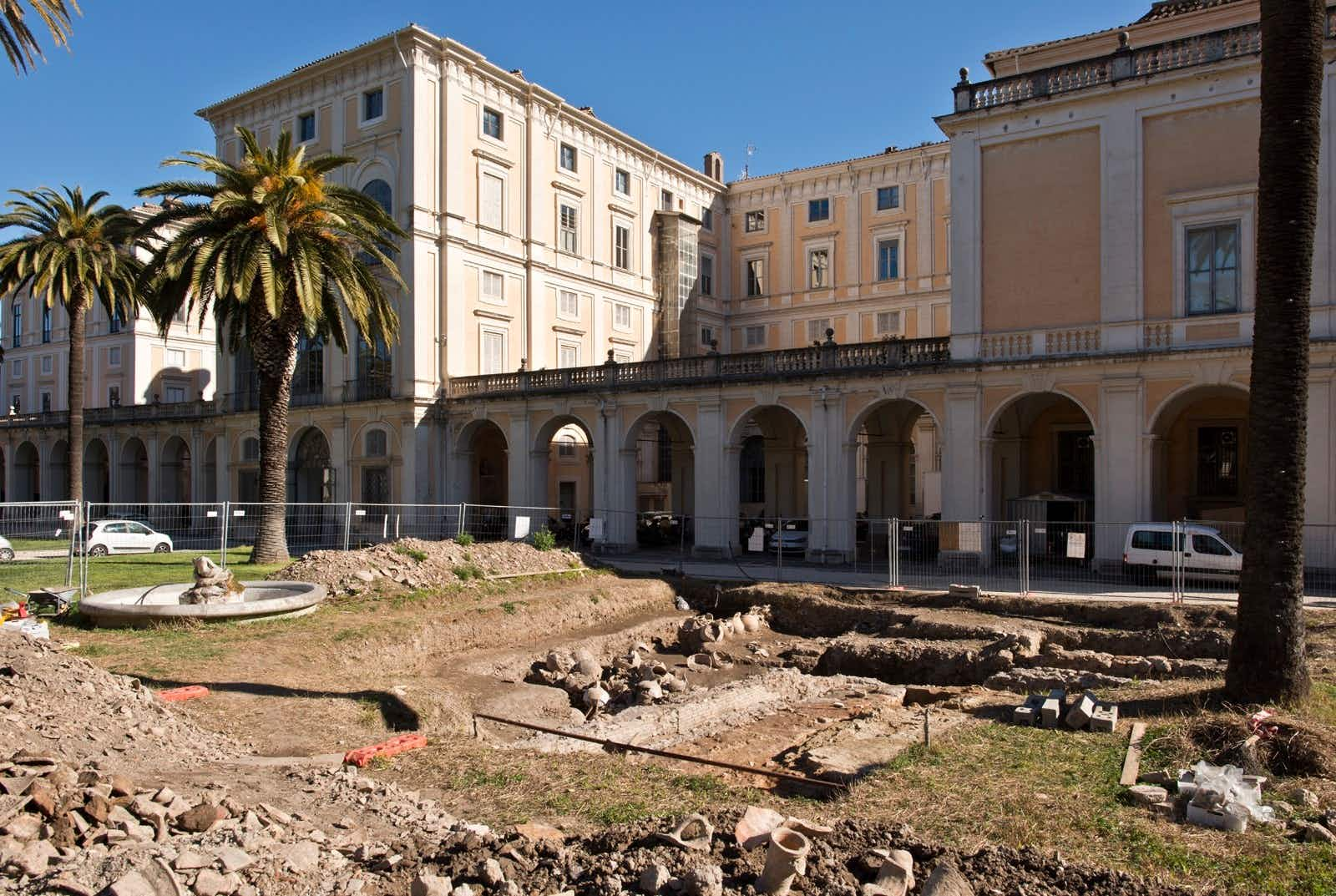 Maintenance staff find remains of ancient workshop in grounds of Roman palace