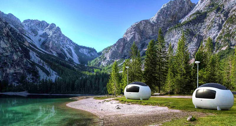 Travel off-grid in these completely self-sufficient egg-shaped pods