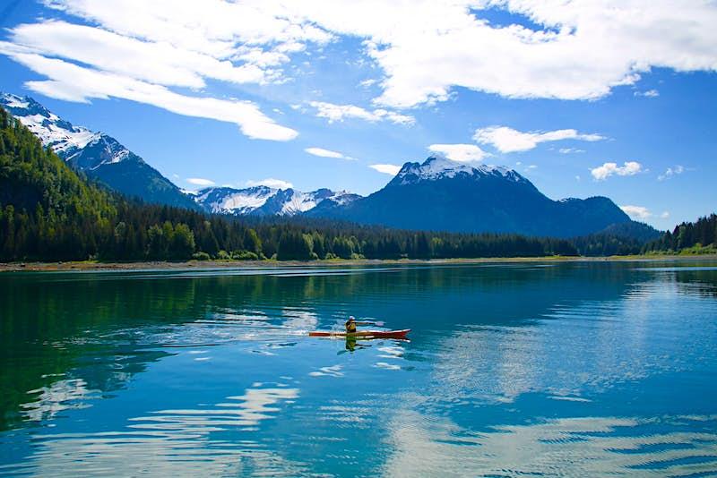 Kayaking in Alaska on a sunny day