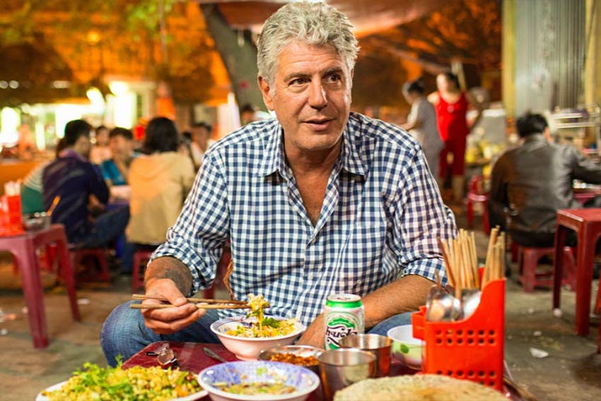 Late chef Anthony Bourdain dining in Iran.