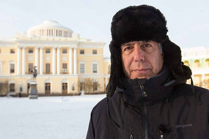 Anthony Bourdain in a snow-covered Russia