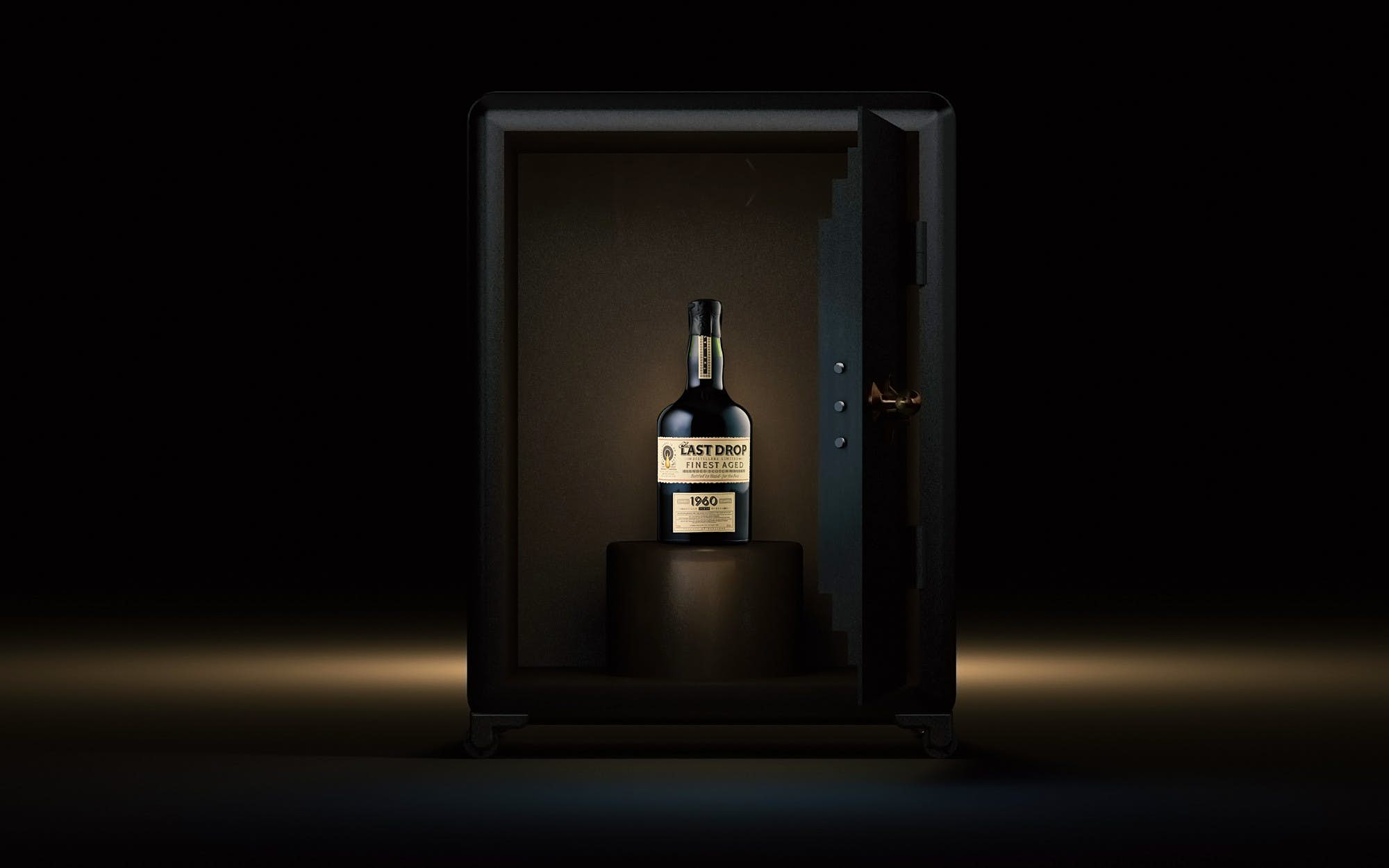 A bottle of whisky in a safe.