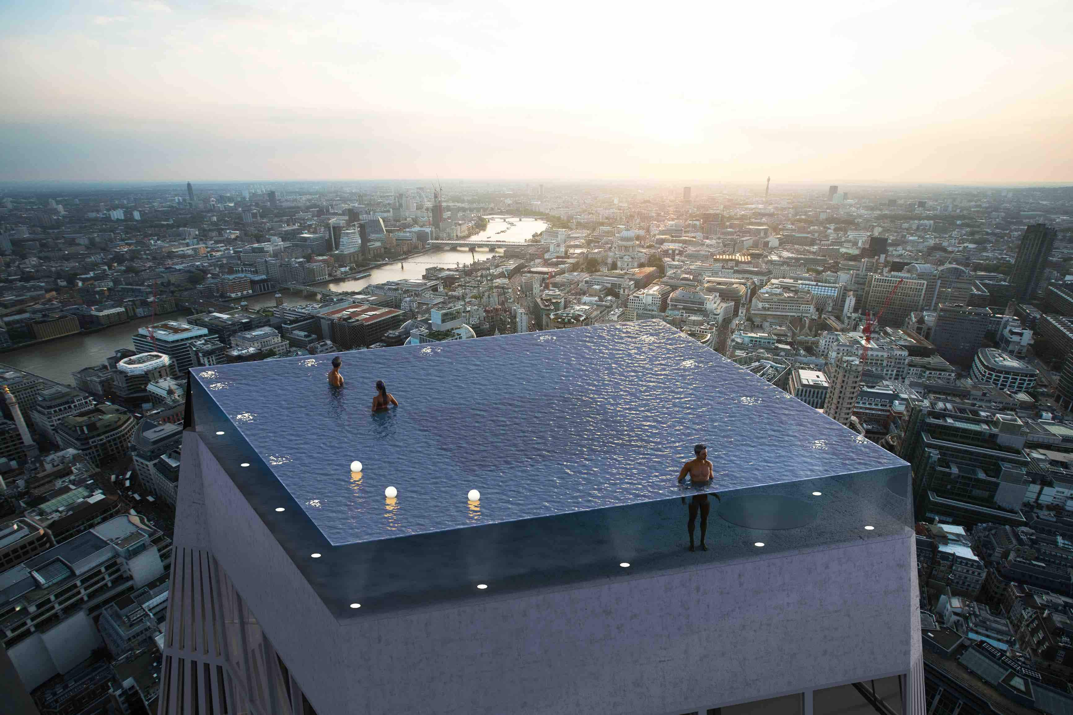 The world's first 360-degree infinity pool could be built above a skyscraper in London
