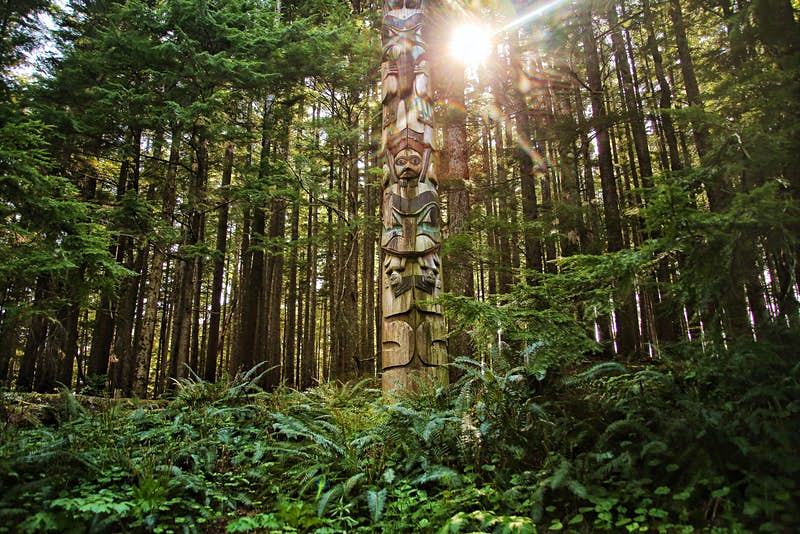 a totem in the woods in Kaasan
