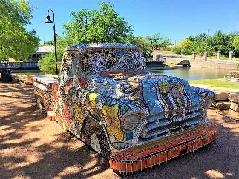 Another Art in Uncommon Places project, this mosaic-covered vintage truck took a reported six years to create.