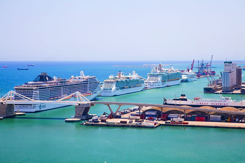Cruise ships lined up in Barcelona.