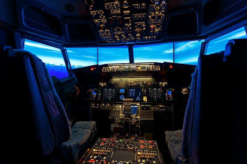 flight simulator cockpit hotel room
