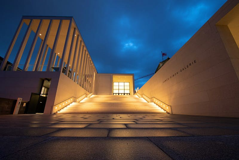 The exterior of the James Simon Gallery on Museum Island in Berlin