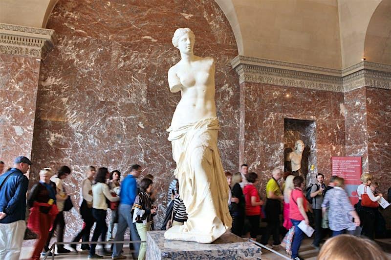 The statue of Venus de Milo at the Louvre Museum in Paris