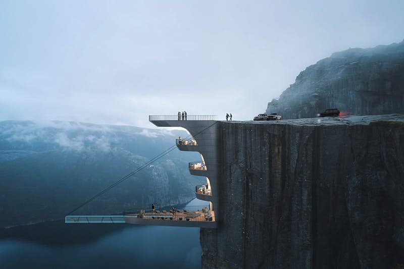 A rendering of a hotel built into a Norwegian cliff