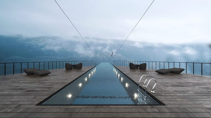 The swimming pool in a hotel built into the cliff at Preikestolen