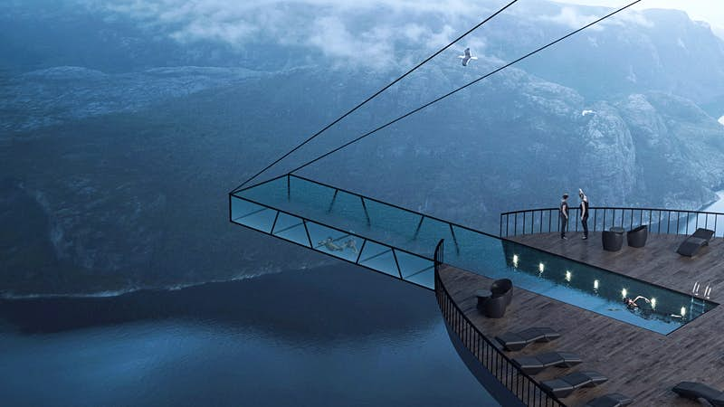 The proposed hotel in the side of Preikestolen n Norway.