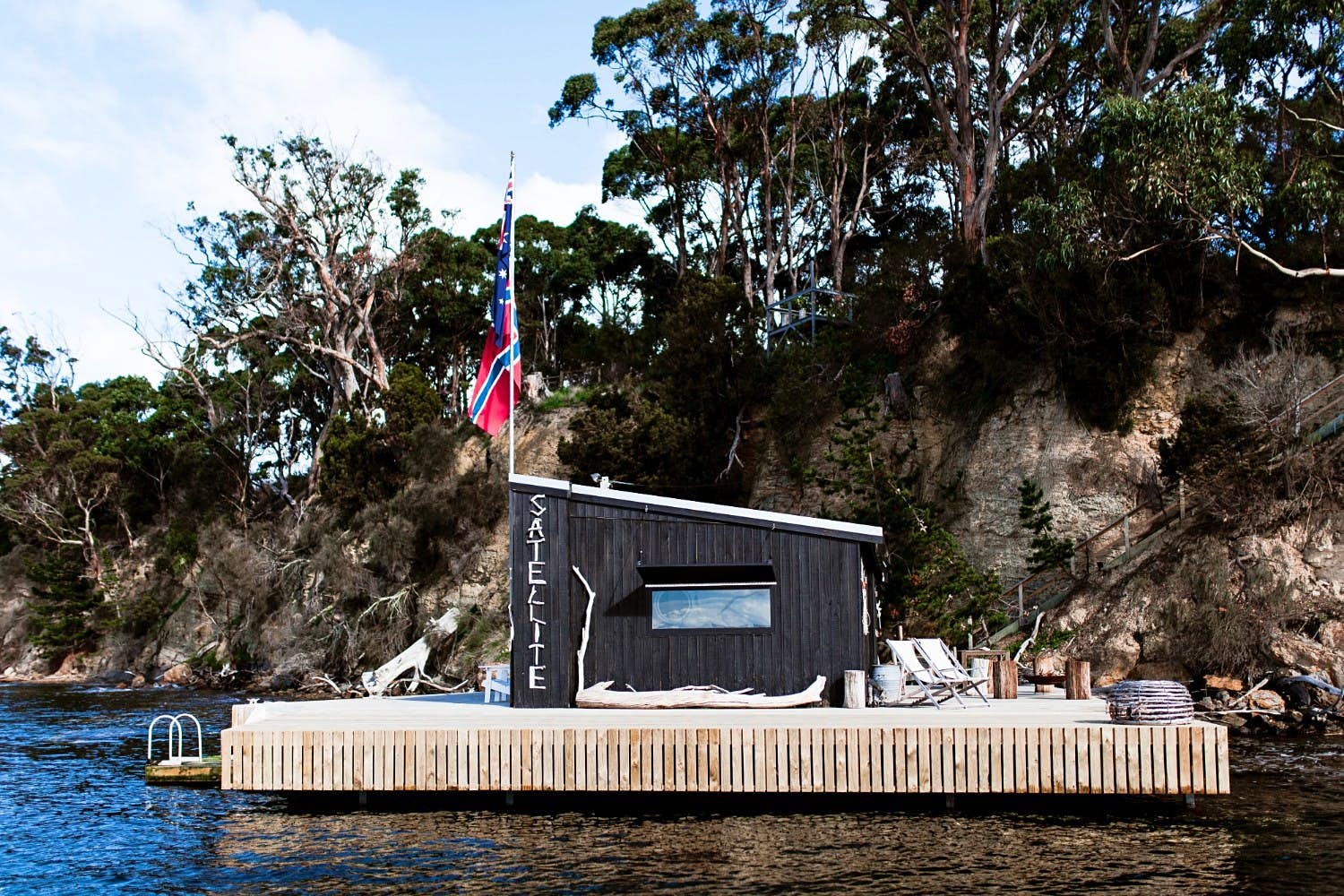 A view of the Boathouse on Satellite Island in Tasmania