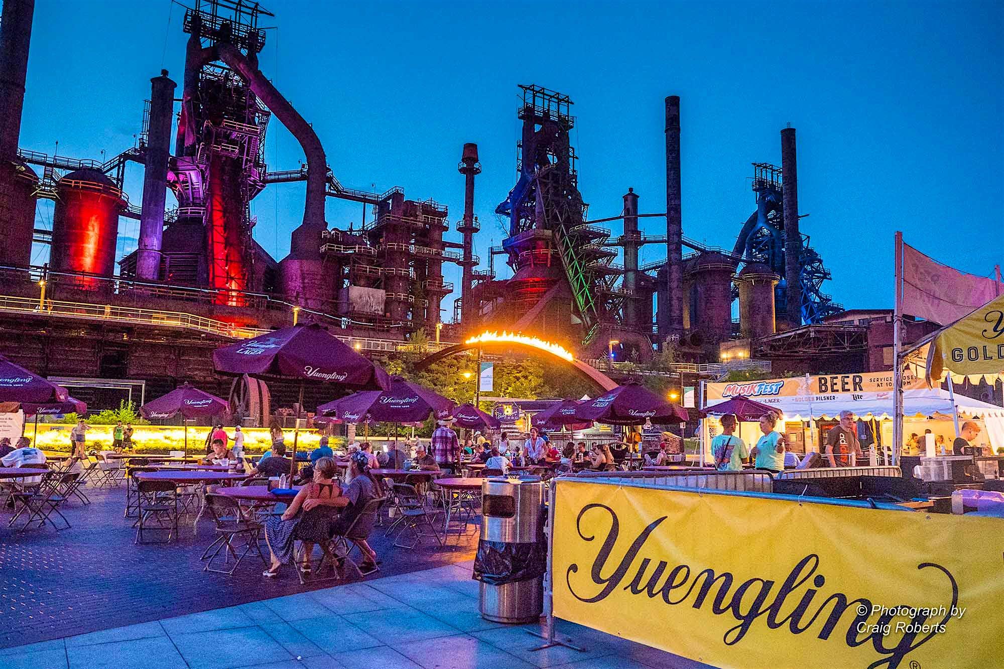 Festval-goers relax at Steelstacks