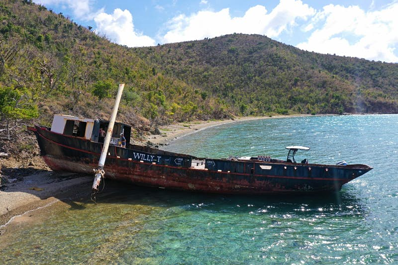 The wreck of the legendary floating bar, The Willy T