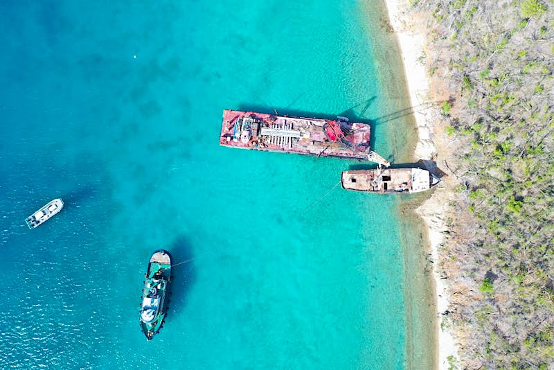 An aerial view of the dive site at the British Virgin Islands.