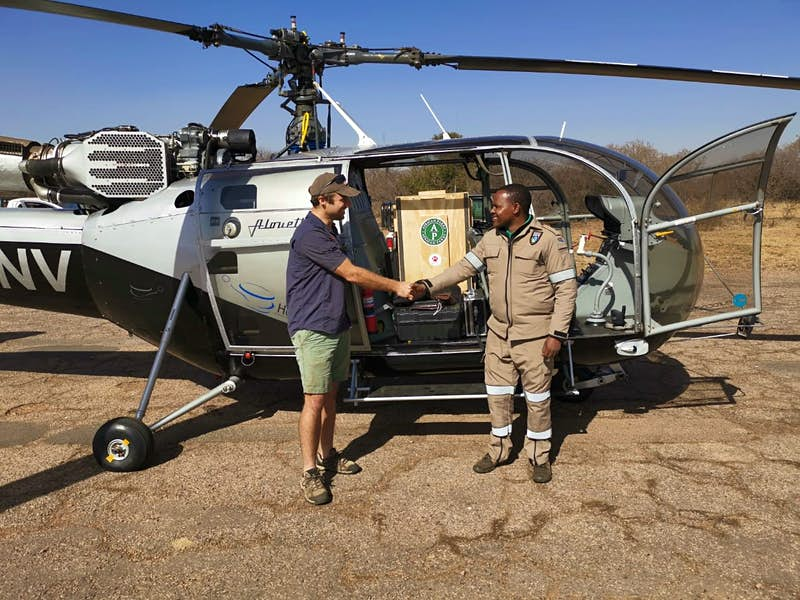 Vincent van der Merwe loads a cheetah into a helicopter in South Africa.