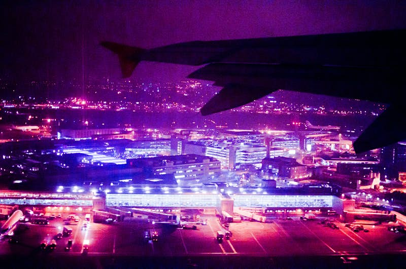 An aerial view of Heathrow Airport at night