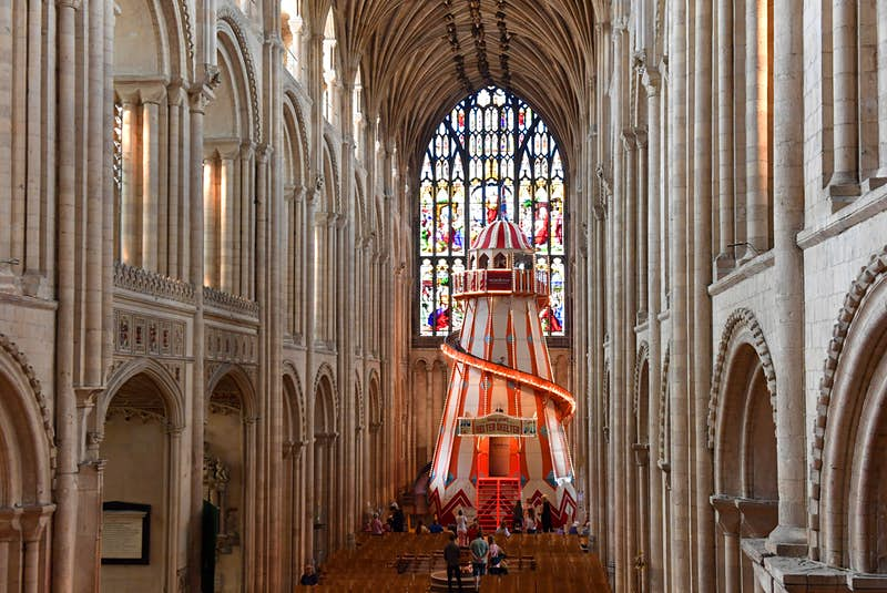 A colourful helter-skelter slide has been installed inside the nave of Norwich Cathedral