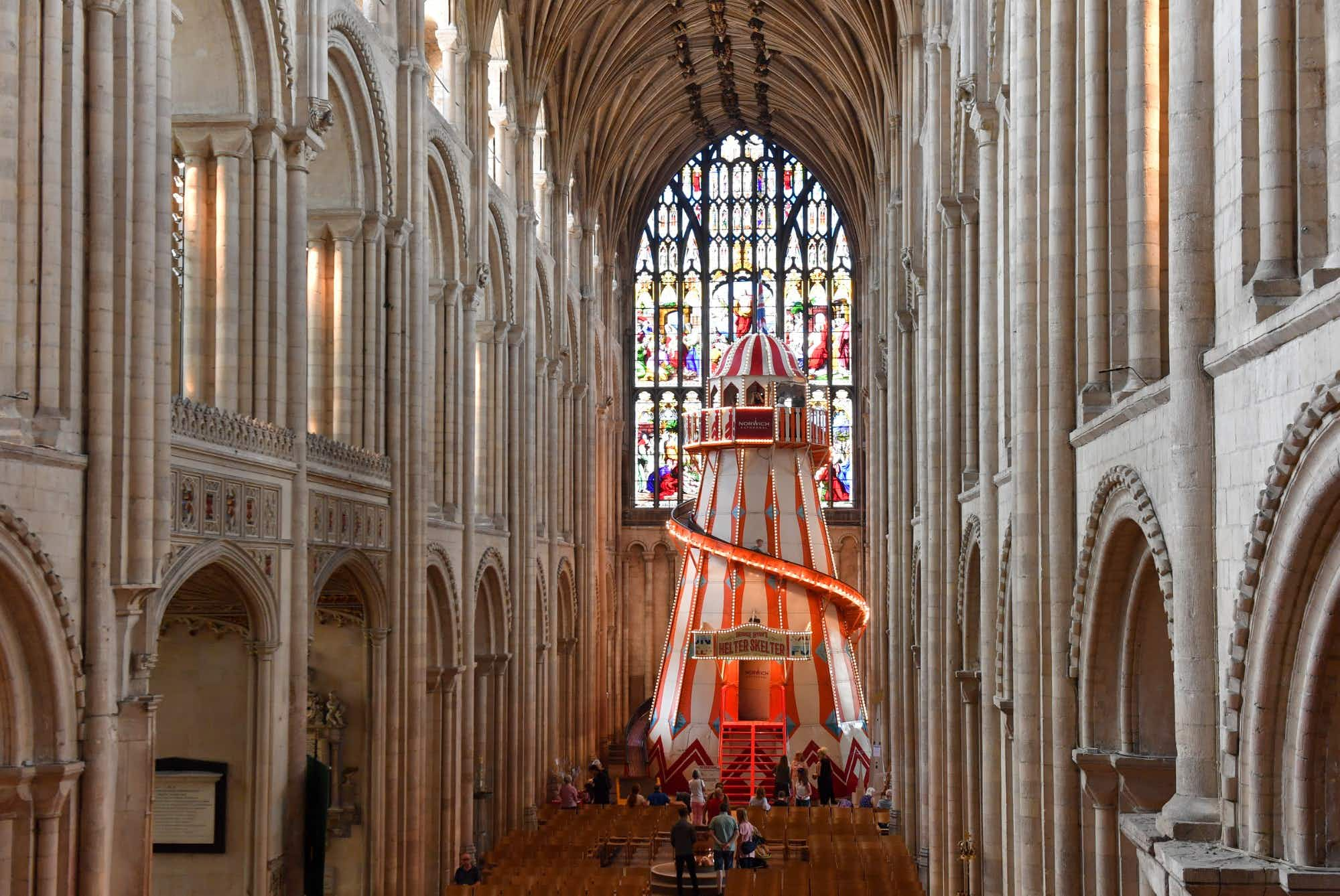 Slide down a colourful helter-skelter in this British cathedral