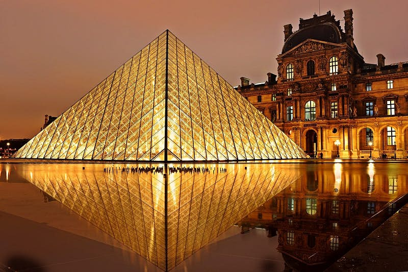 The exterior glass pyramid at The Louvre in Paris