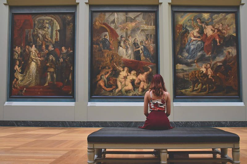 A woman looking at paintings in The Louvre