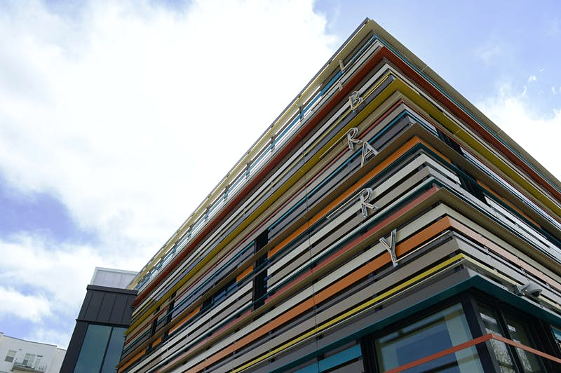 "The colourful facade of the Rodolfo ""Corky"" Gonzales Branch of Denver Library April 15, 2015. (Photo by Andy Cross/The Denver Post via Getty Images)"