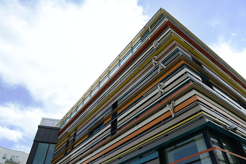 """The colourful facade of the Rodolfo """"Corky"""" Gonzales Branch of Denver Library April 15, 2015. (Photo by Andy Cross/The Denver Post via Getty Images)"""
