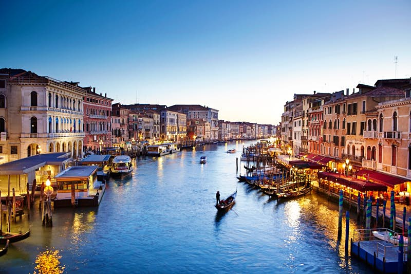 Venice's Grand Canal at dusk