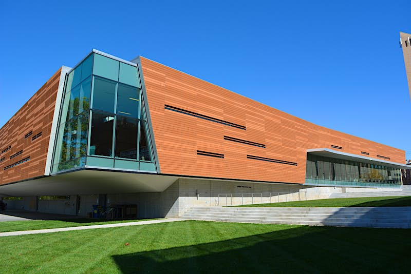 The modern exterior of Lawrence Public Library.