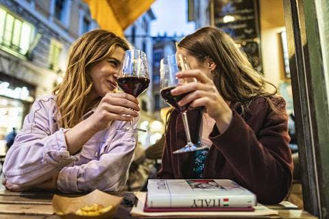 Drinking wine in Italy